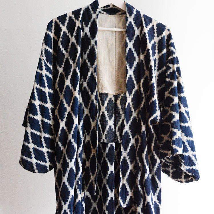 <img class='new_mark_img1' src='https://img.shop-pro.jp/img/new/icons8.gif' style='border:none;display:inline;margin:0px;padding:0px;width:auto;' />藍染 着物 絣 ひし形 ジャパンヴィンテージ 30年代 長着 襤褸 | Indigo Kimono Robe Kasuri Fabric Cotton Japan Vintage 30s Boro