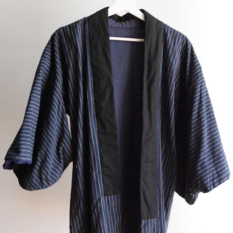 野良着 古着 ジャパンヴィンテージ 木綿 縞模様 着物 日焼け 昭和初期 | Noragi Jacket Japanese Vintage Kimono Cotton Stripe Sunburn