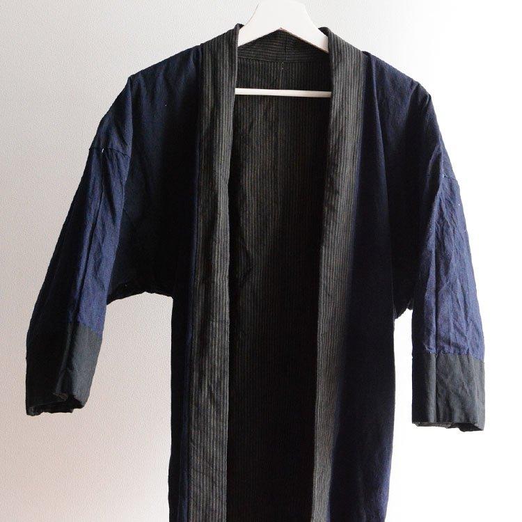 野良着 藍染 縞模様 木綿 着物 ジャパンヴィンテージ 30年代 | Noragi Jacket Men Indigo Kimono Japan Vintage 30s