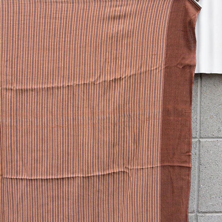 風呂敷 古布 木綿 縞模様 茶色 ジャパンヴィンテージ テキスタイル 昭和   Japanese Fabric Cotton Furoshiki Wrapping Cloth Brown