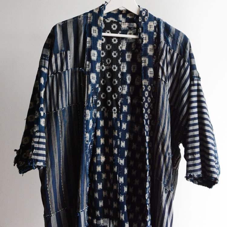 襤褸 野良着 藍染 絣 つぎはぎ クレイジーパターン ジャパンヴィンテージ 明治 大正 | Boro Noragi Jacket Indigo Kimono Kasuri Japan Vintage
