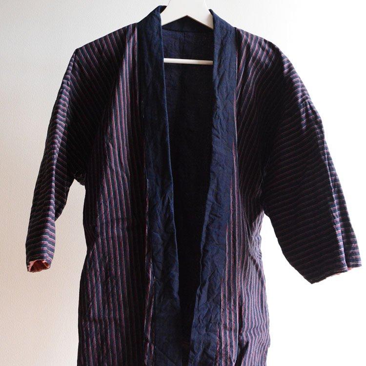 野良着 藍染襟 木綿 縞模様 ジャパンヴィンテージ 30〜40年代 | Noragi Jacket Japanese Vintage Kimono Cotton Stripe
