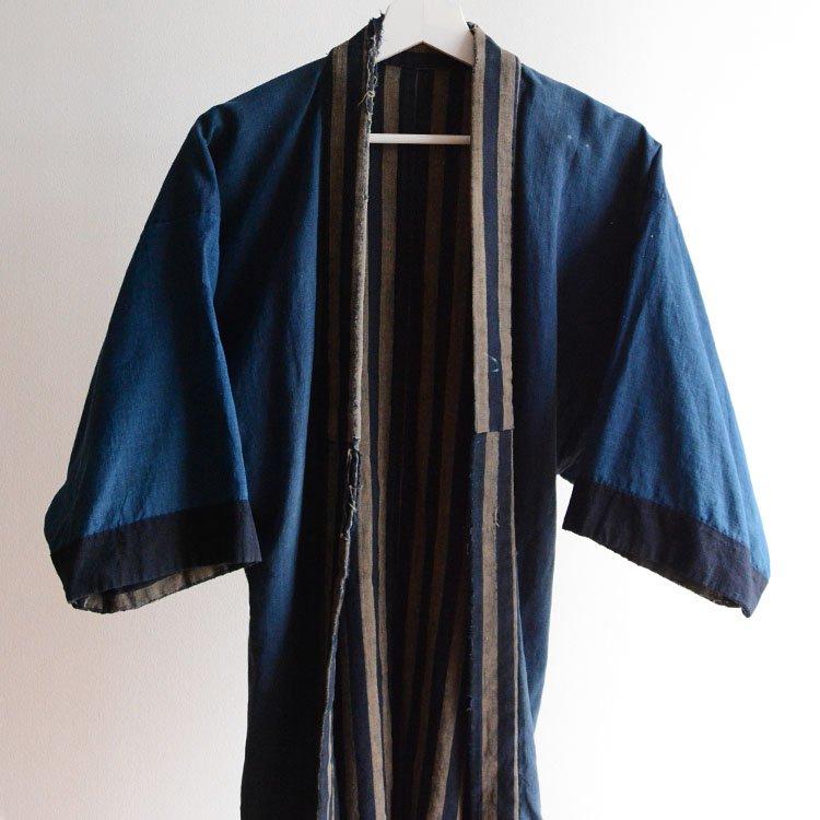 野良着 藍染 襤褸 木綿 縞模様 大正 ジャパンヴィンテージ | Noragi Jacket Boro Indigo Kimono Patchwork Japan Vintage