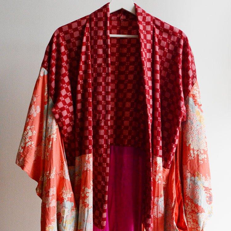 長襦袢 クレイジーパターン ジャパンヴィンテージ アンティーク着物 昭和   Juban Kimono Robe Japanese Vintage Crazy Pattern