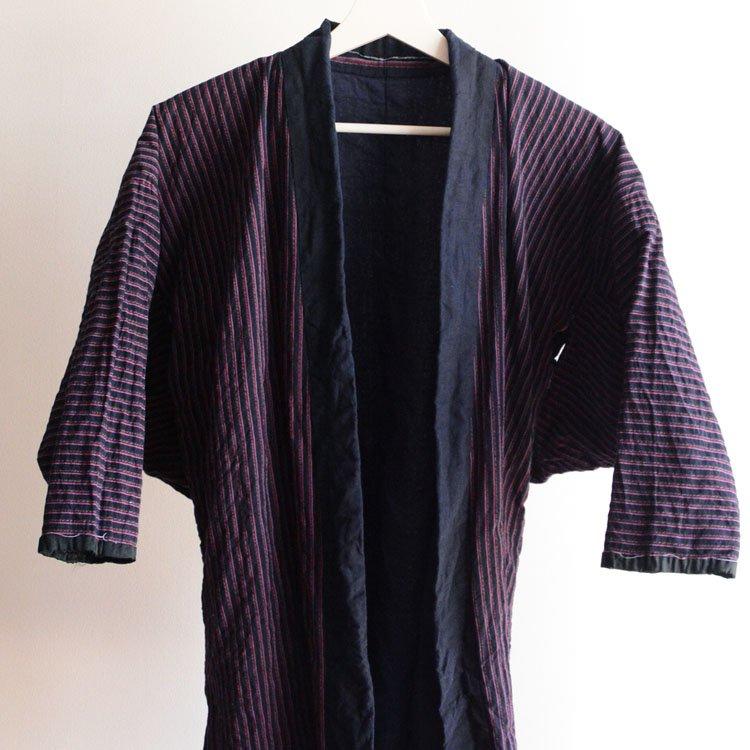 野良着 藍染襟 ジャパンヴィンテージ 木綿 縞模様 30〜40年代   Noragi Jacket Japan Vintage Kimono Cotton Stripe 30〜40s