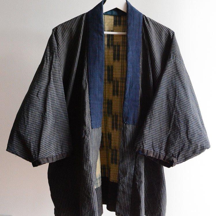 <img class='new_mark_img1' src='https://img.shop-pro.jp/img/new/icons50.gif' style='border:none;display:inline;margin:0px;padding:0px;width:auto;' />野良着 藍染 襤褸 木綿 縞模様 絣 ジャパンヴィンテージ 大正   Noragi Jacket Japan Vintage Boro Indigo Kimono Cotton