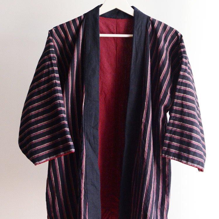 野良着 藍染 木綿 縞模様 ジャパンヴィンテージ 30〜40年代   Noragi Jacket Japan Vintage Indigo Kimono Cotton Stripe