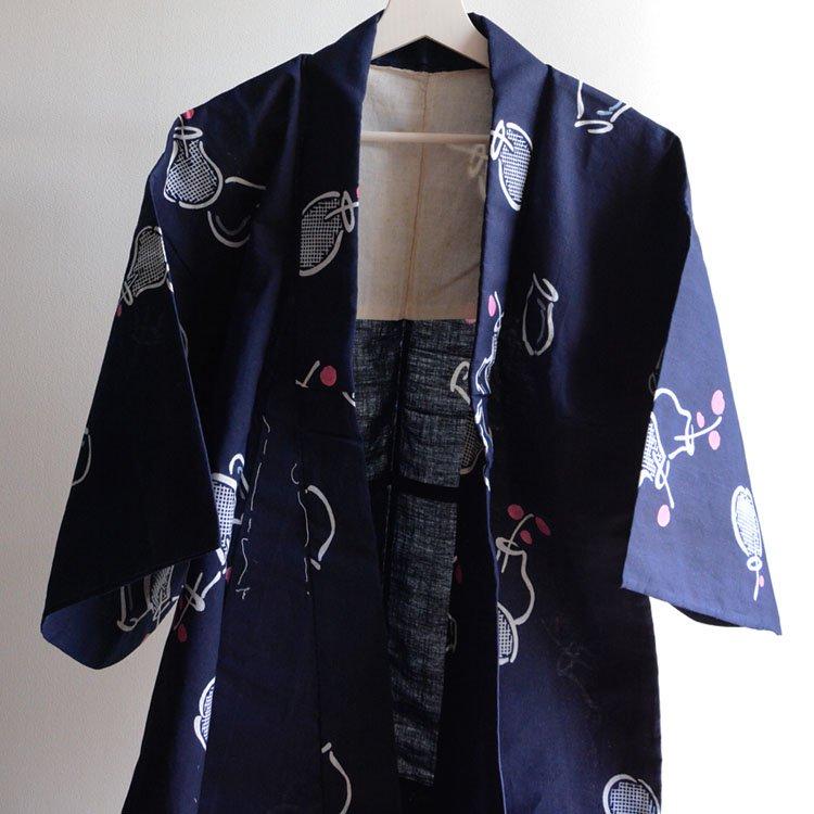 <img class='new_mark_img1' src='https://img.shop-pro.jp/img/new/icons8.gif' style='border:none;display:inline;margin:0px;padding:0px;width:auto;' />浴衣 着物 木綿 紺ベース ジャパンヴィンテージ 60年代   Yukata Kimono Japan Vintage Cotton Navy Fabric