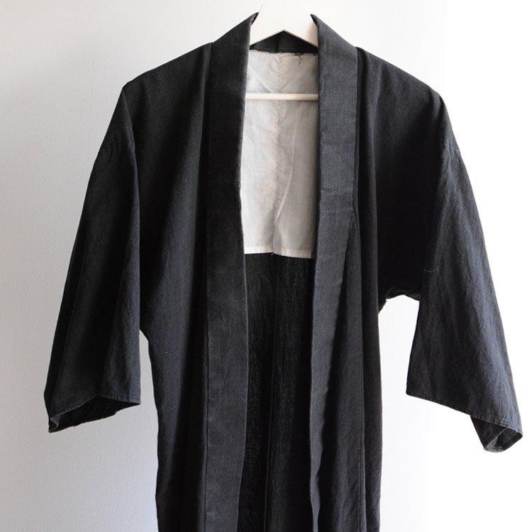 <img class='new_mark_img1' src='https://img.shop-pro.jp/img/new/icons8.gif' style='border:none;display:inline;margin:0px;padding:0px;width:auto;' />野良着 着物 黒 木綿 無地 ジャパンヴィンテージ 昭和中期   Noragi Kimono Jacket Plain Black Cotton Japan Vintage