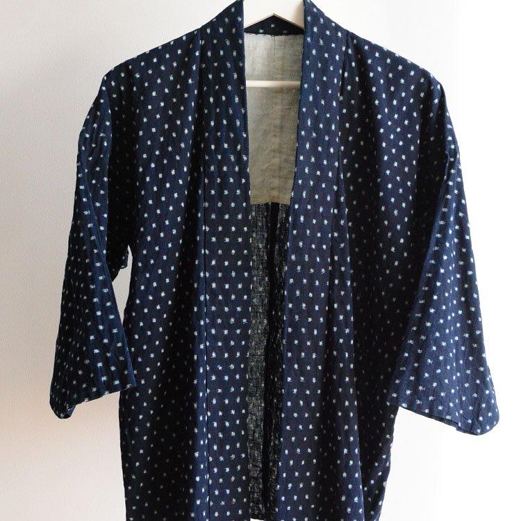 <img class='new_mark_img1' src='https://img.shop-pro.jp/img/new/icons8.gif' style='border:none;display:inline;margin:0px;padding:0px;width:auto;' />野良着 藍染 絣 雪ん子 ジャパンヴィンテージ 着物 大正 昭和   Noragi Jacket Indigo Kimono Japan Vintage Kasuri Fabric Cotton