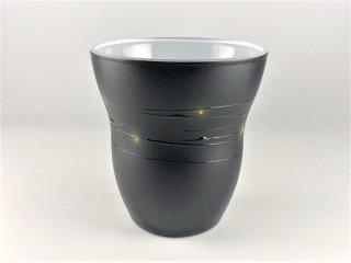 漆のグラス らせんシリーズ グラス(大)黒/内側:白ラメ