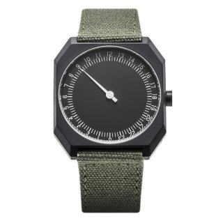 SLOW WATCH SLOW JO 15 Olive Green Canvas, Black Case, Black Dial