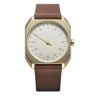 SLOW WATCH SLOW MO 07 Brown Leather, Gold Case, Gold Dial