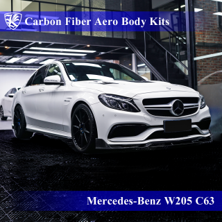 Mercedes-Benz W205 C63 AMG セダン 前期 Kerberos K'sスタイル 3D Real Carbon カーボンファイバーボディキット 6点キット