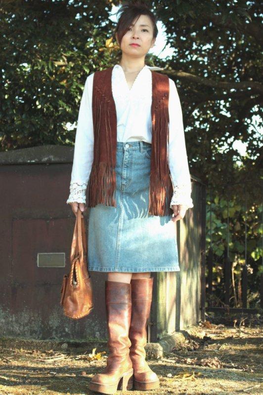 size Free 1960年代 皮革製ヴィンテージベスト 【フリンジ】  size free 1960s vintage vest - fringe -