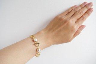 【pearls & crystals】パール&クリスタル・ブレスレット[コットンパール/スワロフスキークリスタル]