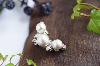 【pearls & crystals】パール&クリスタル・イヤーカフ(シルバー)[コットンパール/スワロフスキークリスタル]