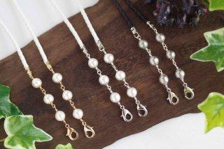 別売りストラップひも(1)【pearls & crystals】パール&クリスタル・スマホロングストラップ用[コットンパール]