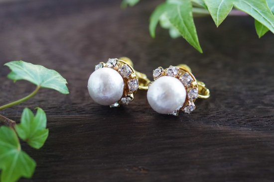 【pearls & crystals】パール&クリスタル・イヤリング[コットンパール/スワロフスキークリスタル]