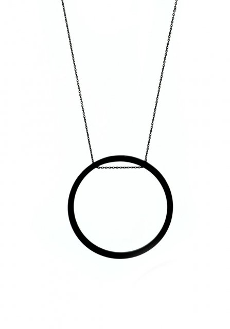 geometric circle necklace (matte black)