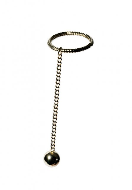 dangle ball ring (gold)