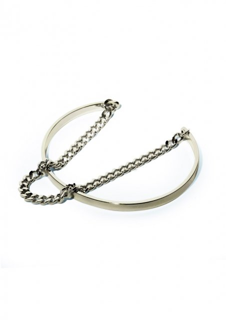 layerd metal and chain bangle (gold)