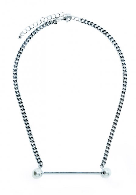 pearl drop necklace (silver)