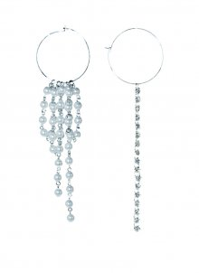 crystal snd pearls pierce (silver)