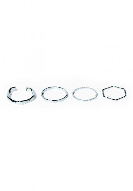 hexagon and circle ring set (silver)