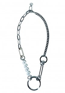 multimaterial chain and pearl necklace (silver)