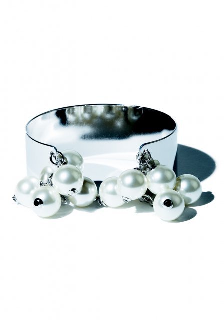 many pearl bangle (silver)