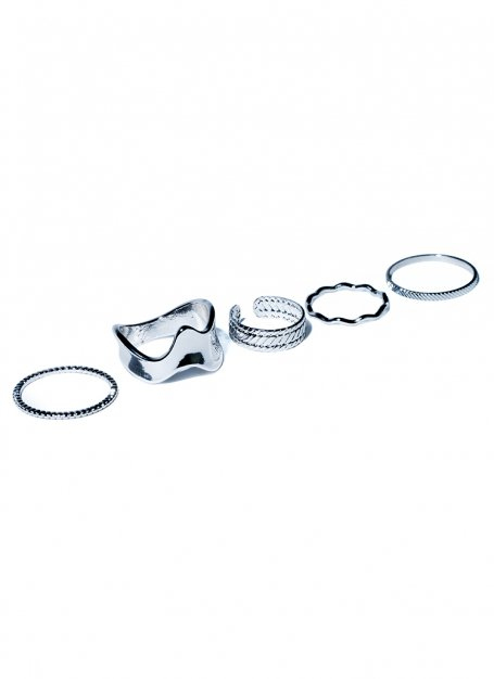5 piece chain ring set (silver)
