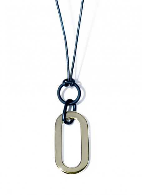 orval leather necklace (gold)