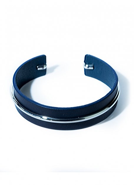 classy leather bangle(navy)