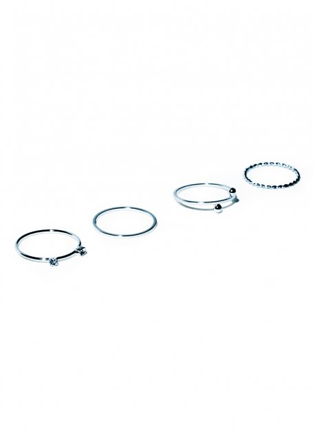 slender stone and bowl ring set (silver)