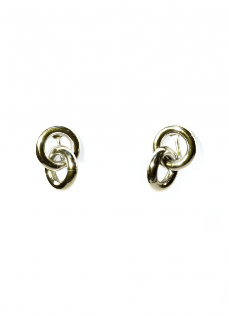 tiny double ring earrings (gold)