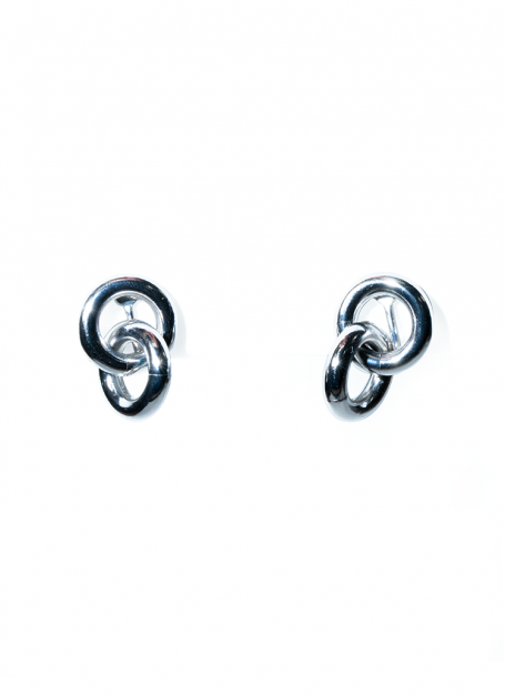 tiny double ring earrings (silver)