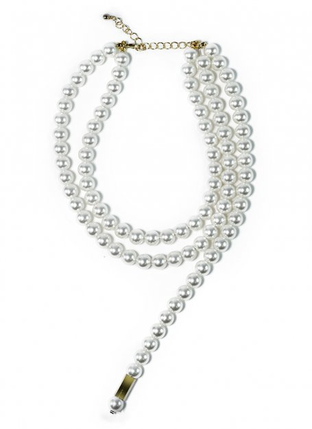 pearl stole necklace (gold)