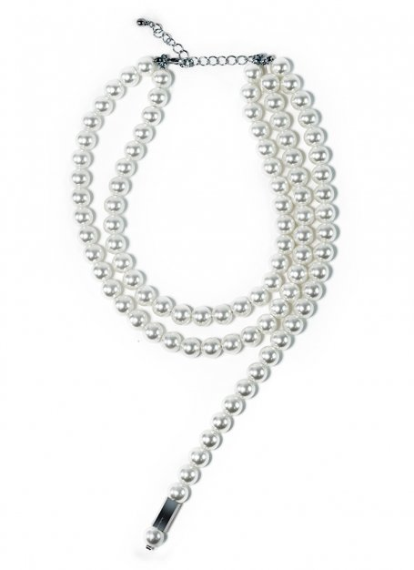 pearl stole necklace (silver)