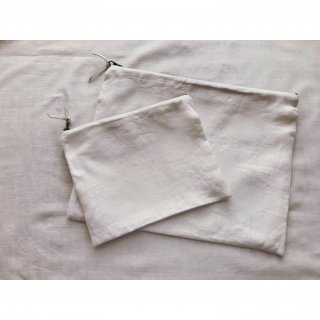 antique linen pouch (L)