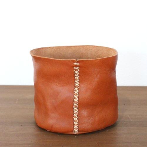 レザーポット4号鉢(ブラウン)
