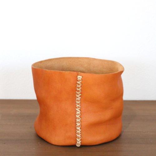 レザーポット4号鉢(キャメル)