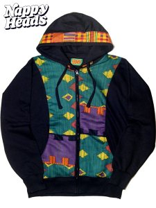 """African Tribe"" Vintage Cloth Remake Zip Hoodie"