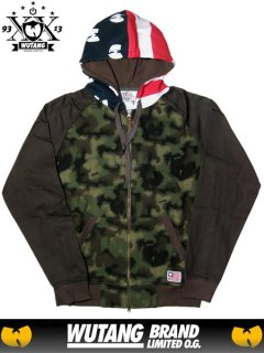 WUTANG LTD Spray Camo Zip Up Flag Hoodie