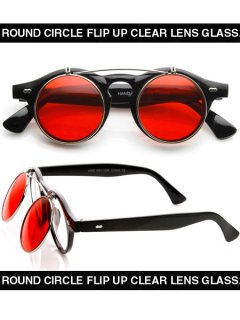 ROUND CIRCLE FLIP UP CLEAR LENS GLASS