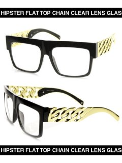 HIPSTER FLAT TOP CHAIN CLEAR LENS GLASS