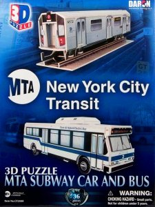 """MTA NYC Subway Car and Bus"" New York Worlds Great Architecture Series 3D"