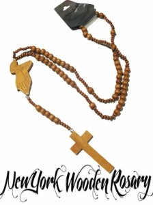 "Wood Beaded Rosary ""Praying Hand & Cross"""