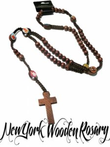 "Wood Bead Rosary ""Pictures & Cross"""