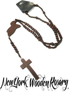 Wood Beaded Rosary  Brown